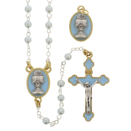 Blue First Communion Rosary & Medal Gift Set