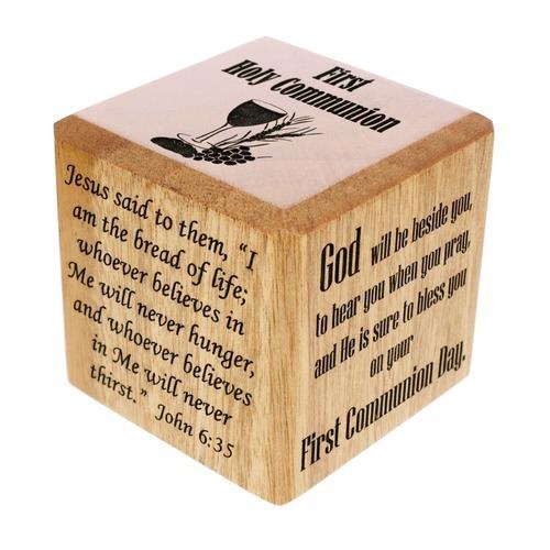 First Communion Wooden Prayer Cube